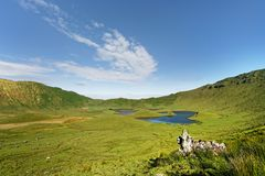 Large volcano crater with crater lakes stock photo