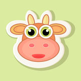 Large volumetric sticker with a depicted cow in cartoon style. Royalty Free Stock Photography