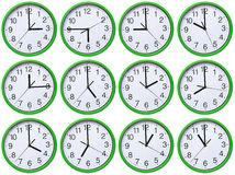 Large, wall, analog clock isolated on white background.  stock images