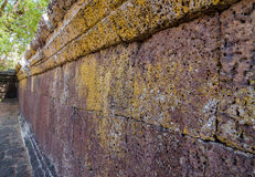 The large wall at the ancient historical park sandstone, Thailand Royalty Free Stock Photo