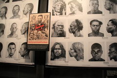 Large wall with exhibit covering the racial stereotypes of Jews, United States Holocaust Memorial Museum, Washington, DC, 2017 Royalty Free Stock Photo
