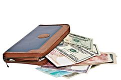 Large Wallet with Currency Stock Photos