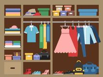 Large wardrobe with different clothes. Vector illustration in flat style. Closet with clothing fashion, clothes and accessories Royalty Free Stock Photography