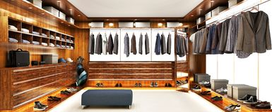 Large wardrobe interior design in big house. Large wardrobe interior design in large house royalty free illustration
