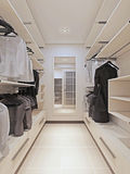 Large wardrobe in a modern style interior Royalty Free Stock Images