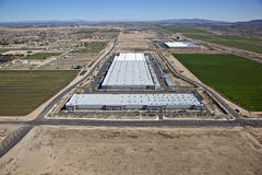 Large warehouse buildings from above Royalty Free Stock Photography