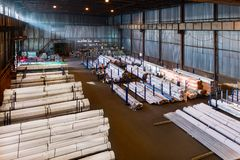 Large warehouse metal profile and metal. Aerial view.  royalty free stock images
