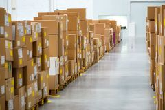 Large warehouse with a variety of boxes Royalty Free Stock Photo
