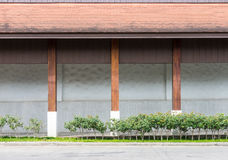 Large warehouse with the wooden pillar. Royalty Free Stock Image