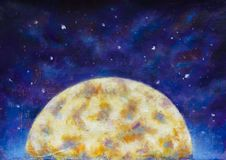 A large warm glowing moon in a blue violet starry space. Big night half moon in cosmos. Original oil painting large warm glowing half moon in blue violet starry royalty free illustration