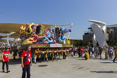 Large warrior decorations on the Japanese traditional parade on EXPO 2015 Stock Photography