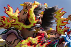 Large warrior decorations on the Japanese traditional parade on EXPO 2015 Stock Photos