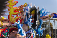 Large warrior decorations on the Japanese traditional parade on EXPO 2015 Royalty Free Stock Photography