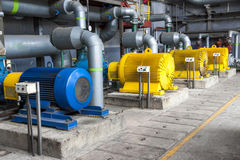 Large water pumps. With electric motors Stock Photo