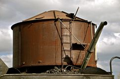 Large water tank for refilling train steam engines royalty free stock image