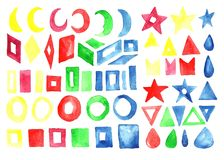 A large watercolor collection of geometric shapes, symbols and s. Igns. Isolated image on white background. Handmade drawing Stock Image