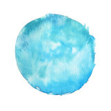 Large watercolor stain with paint texture isolated on white background. Saturated turquoise color. Hand drawn backdrop Stock Image
