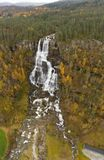 Large Waterfall in Norway in Autumn at Voss royalty free stock photography