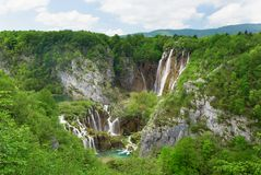 Large waterfall at Plitvice lakes Royalty Free Stock Photography