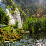 Large waterfall at Plitvice lakes. Royalty Free Stock Images