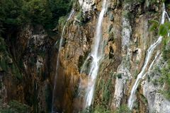 Large Waterfall in Plitvice Lakes National Park. In Croatia Royalty Free Stock Photo