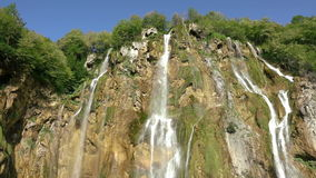Large Waterfall at the Plitvice Lakes. Slow Motion stock video footage