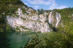 Large waterfall Plitvice lakes Royalty Free Stock Image