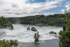 The large waterfall on rhine river Royalty Free Stock Photography