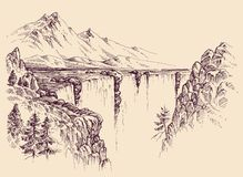 Large waterfall on a river royalty free illustration
