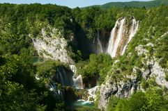 A large waterfall and Sastavci Royalty Free Stock Images