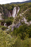 Large Waterfalls. Very large waterfalls in Plitvice National Park. The oldest national park in Southeast Europe and the largest national park in Croatia Royalty Free Stock Photo