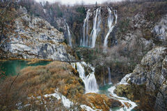 The Large Waterfalls of Plitvice Lakes National Park. Cascading waterfalls in Plitvice Lakes National Park Royalty Free Stock Image