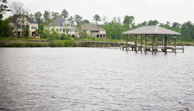 Large Waterfront Homes Stock Photography