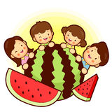Large watermelon and Family Mascot. Home and Family Character De Stock Image
