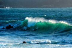 Large wave of clear aqua blue water backlit by the sun royalty free stock images