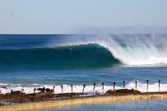 Large Wave at Newcastle Baths - Australia Royalty Free Stock Photography