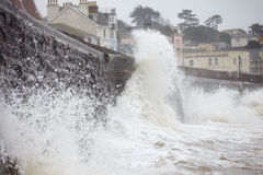 Large Waves Breaking Against Sea Wall At Dawlish In Devon Royalty Free Stock Photos