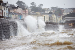 Large Waves Breaking Against Sea Wall At Dawlish In Devon Stock Photography