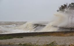 A hurricane at sea. Large waves through a concrete parapet royalty free stock image