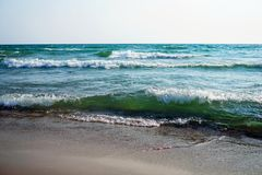 Large waves with white foam royalty free stock photography