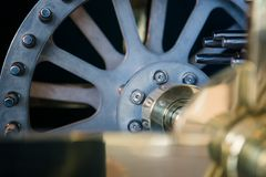 Large wheel, detail of clock internal parts Royalty Free Stock Photos