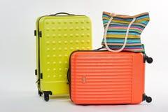 Large wheeled suitcases, handbag. Royalty Free Stock Photos