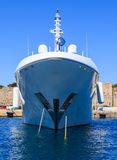 A large white boat shot of the front of the bow. Royalty Free Stock Photos