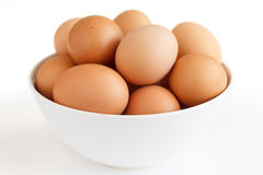 Large white bowl bowl af chicken eggs Royalty Free Stock Photo