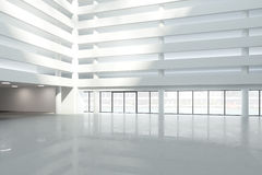 Large white hall of modern business center. Mock up Stock Image