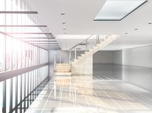 Large white hall where there is a panoramic window, a staircase to the second floor. Building under the shopping center, office. 3. D illustration Royalty Free Stock Images