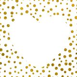 A large white heart on the background of small gold dots Stock Image