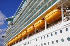 Large white mooring cruise ship Royalty Free Stock Photos