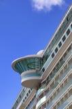 Large white mooring cruise ship Stock Photos