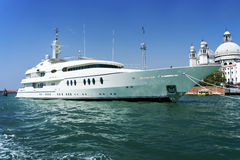 Large white motor yacht Stock Photo